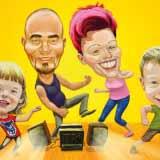 Die Familie – Digital Farbige Gruppenkarikatur