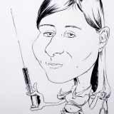 Die Krankenschwester – Schwarz-Weiß Karikatur