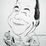 Der Fischer – Schwarz-Weiß Karikatur
