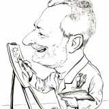 Der Maler – Schwarz-Weiß Karikatur