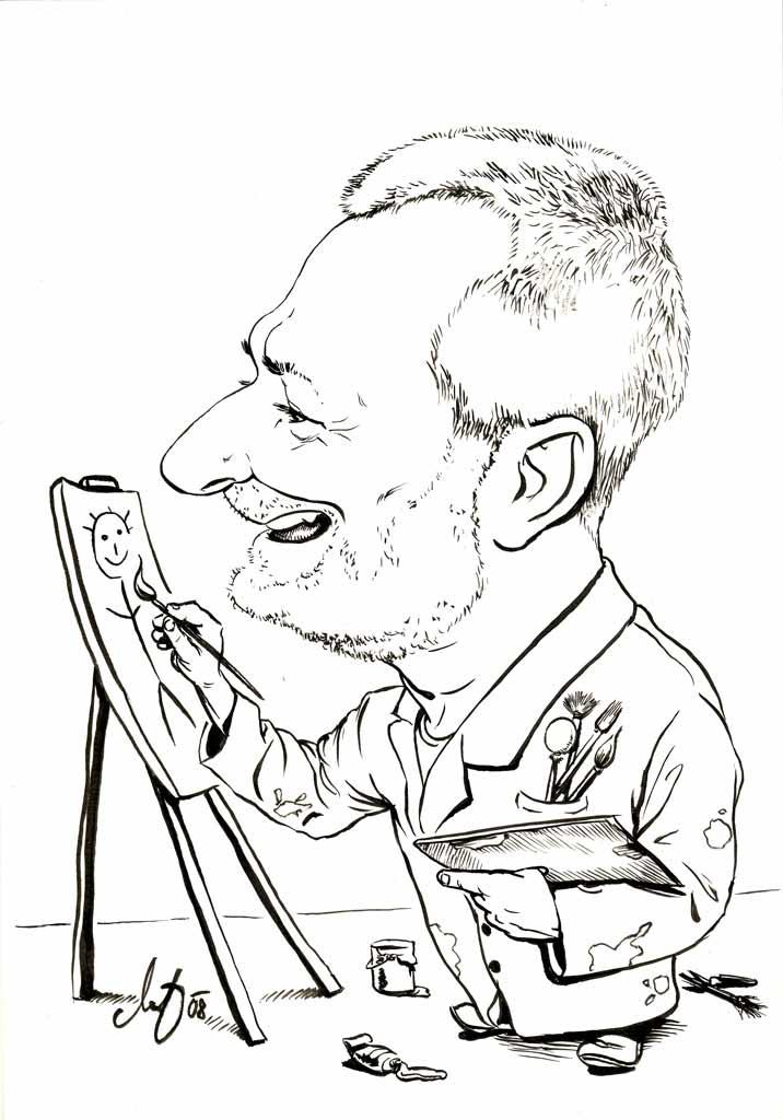 Der Maler - Schwarz-Weiß Karikatur