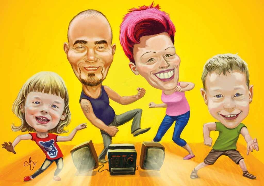 Die Familie - Digital Farbige Gruppenkarikatur