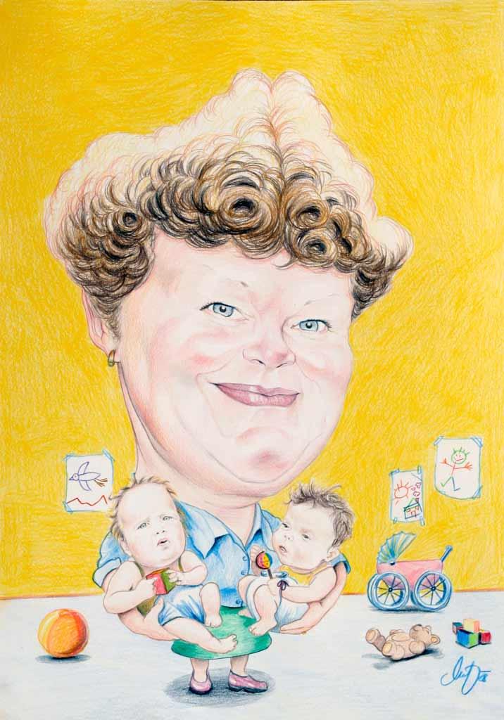 Die Mutter - Farbige Karikatur