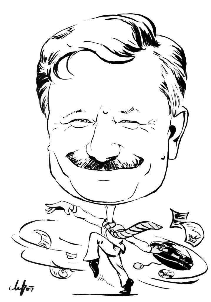 Der Ökonom - Schwarz-Weiß Karikatur