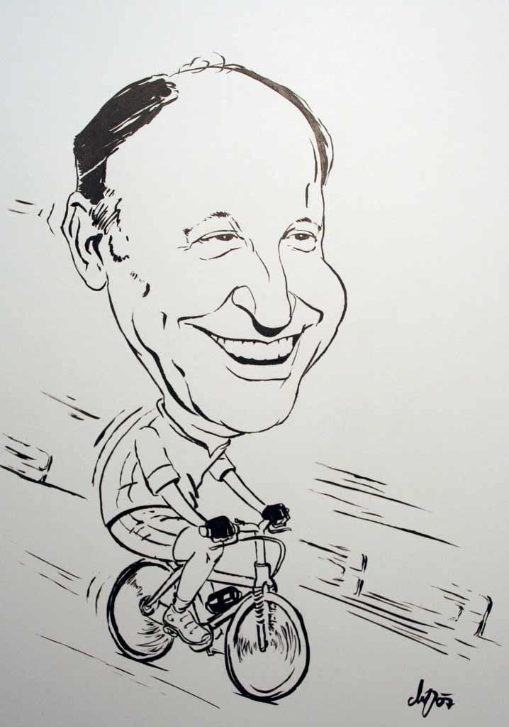 Der Fahrradfahrer - Schwarz-Weiß Karikatur
