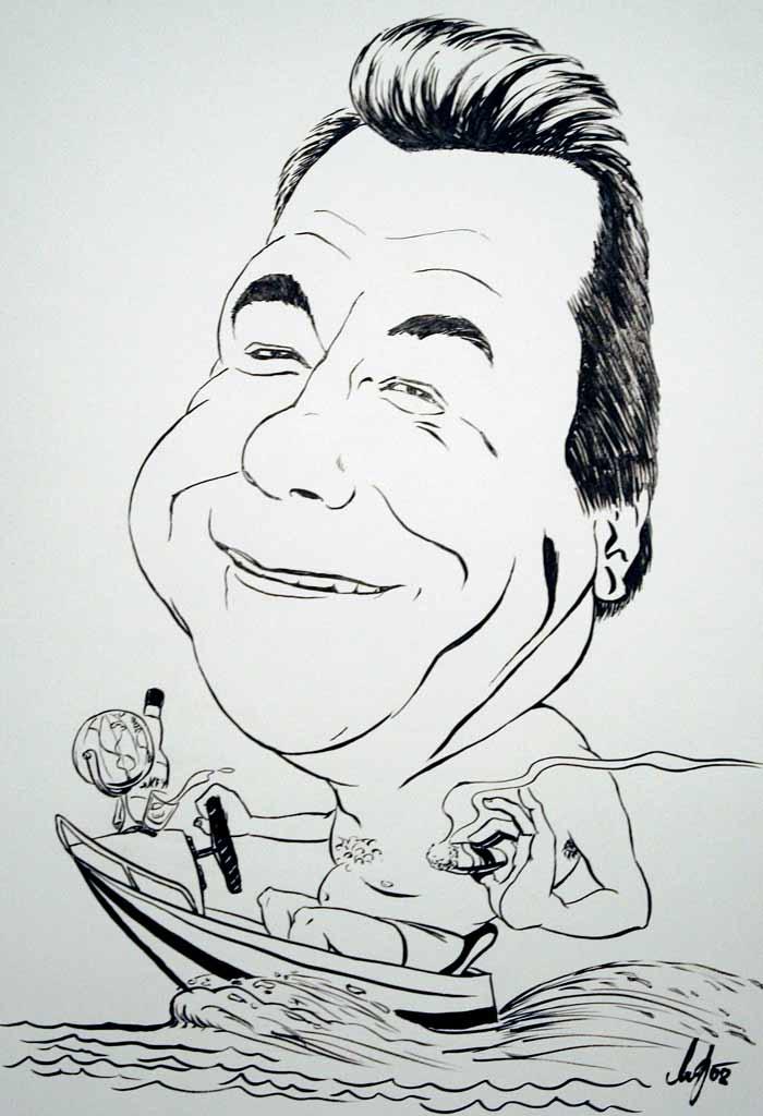 Der Fischer - Schwarz-Weiß Karikatur