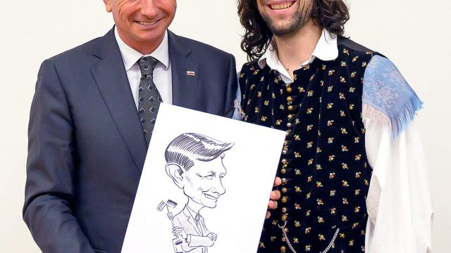 Live-Karikatur Borut Pahor - Der slowenische Staatspräsident - by Matej Kovacic